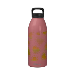 Peach and Green Hearts Reusable Water Bottle