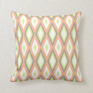 Peach and Green Ikat Pattern Throw Cushion