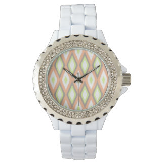 Peach and Green Ikat Pattern Watches