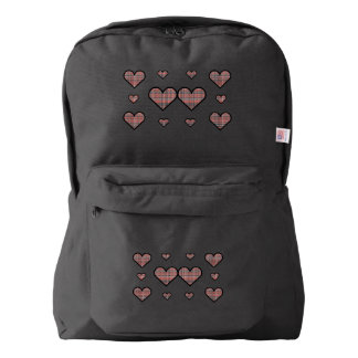 Peach and Green Plaid Hearts Backpack