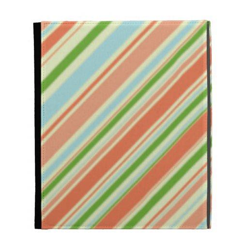 Peach and Green Striped iPad Folio Case