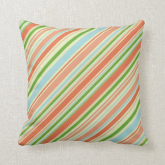 Peach and Green Striped Throw Pillow