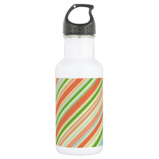 Peach and Green Striped 532 Ml Water Bottle