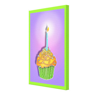 Peach and Lavender BIRTHDAY CUPCAKE & CANDLE Galle Canvas Print