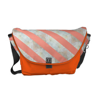 Peach And Marble Stripes Pattern Courier Bag