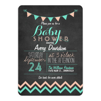 Peach and Mint Bunting Flag Chalkboard Baby Shower Card