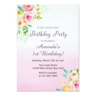 Peach and Pink Birthday Invitation