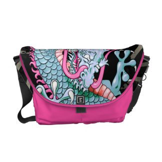 Peach and Pink Japanese Dragon Tattoo Wind Bars Commuter Bag