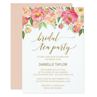 Peach and Pink Peony Flowers Bridal Tea Party Card