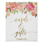 Peach and Pink Peony Flowers Cards and Gifts Sign