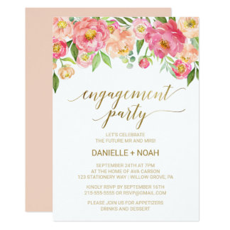 Peach and Pink Peony Flowers Engagement Party Card