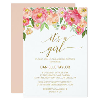 Peach and Pink Peony Flowers It's A Girl Card