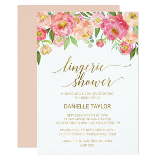 Peach and Pink Peony Flowers Lingerie Shower Card