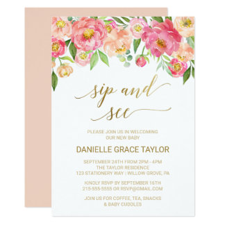 Peach and Pink Peony Flowers Sip and See Card