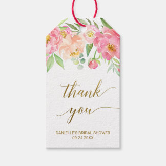 Peach and Pink Peony Flowers Thank You Gift Tags
