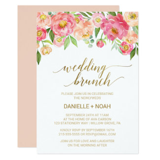 Peach and Pink Peony Flowers Wedding Brunch Card