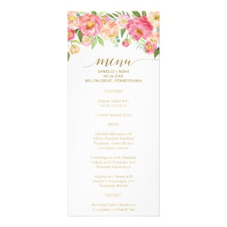 Peach and Pink Peony Flowers Wedding Menu Card