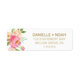 Peach and Pink Peony Flowers Wedding Return Address Label