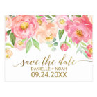 Peach and Pink Peony Flowers Wedding Save the Date Postcard