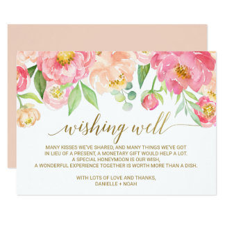 Peach and Pink Peony Flowers Wedding Wishing Well Card