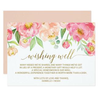 Peach and Pink Peony Flowers Wedding Wishing Well Card