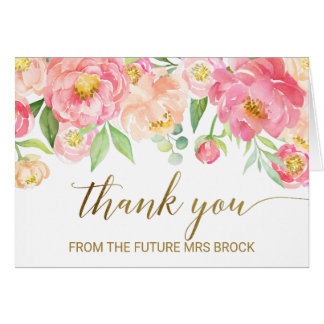 Peach and Pink Peony Thank You From the Future Mrs Card