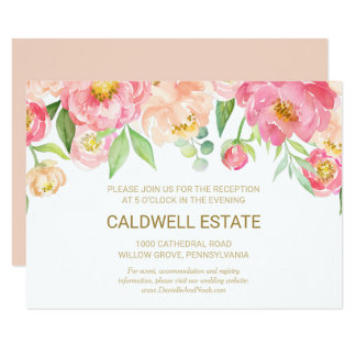 Peach and Pink Peony Wedding Reception Insert Card