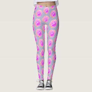 Peach and Pink Rose Leggings