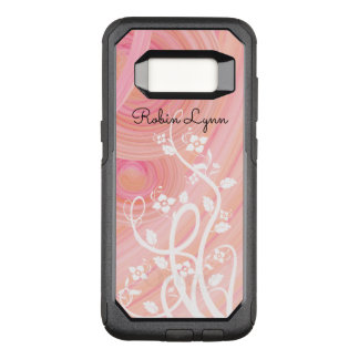 Peach and Pink Spirals | White Vines and Flowers OtterBox Commuter Samsung Galaxy S8 Case