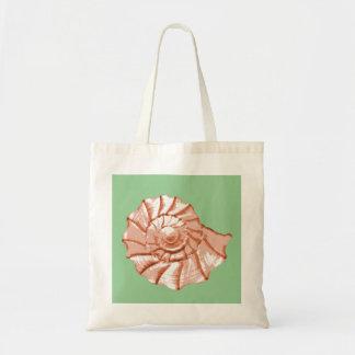 Peach and Sage Nautilus Seashell Tote Bag