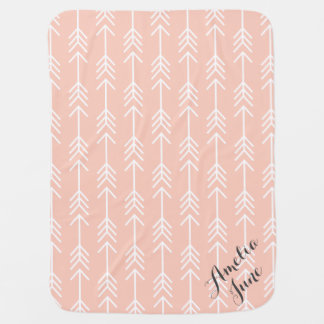 Peach and Seafoam Arrows Monogram Baby Blanket