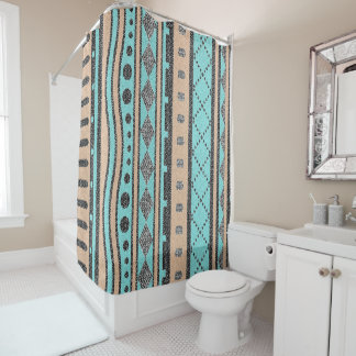 Peach And Turquoise Tribal Pattern Shower Curtain