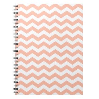 Peach and White Chevron Stripes Notebooks