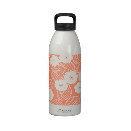 Peach and White Floral Water Bottle
