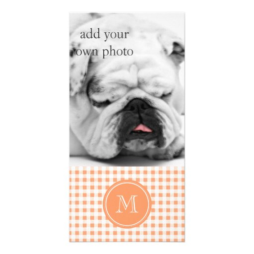 Peach and White Gingham, Your Monogram Personalized Photo Card