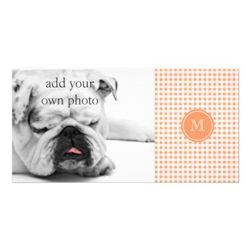 Peach and White Gingham, Your Monogram Photo Greeting Card
