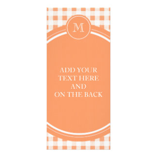 Peach and White Gingham Your Monogram Personalized Rack Card