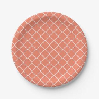 Peach and White Quatrefoil Paper Plate