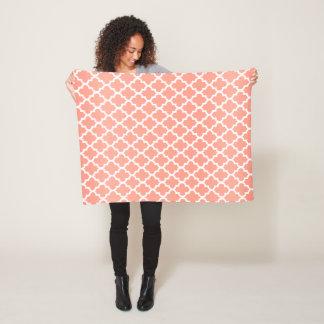 Peach and White Quatrefoil Pattern Fleece Blanket