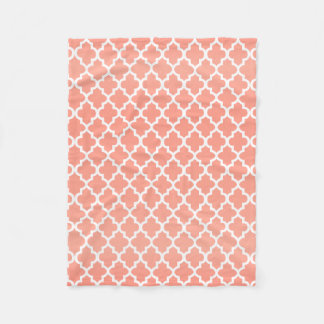 Peach and White Quatrefoil Pattern Fleece Blanket