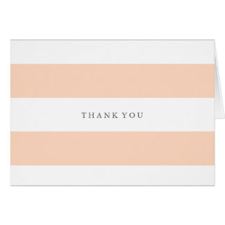Peach and white striped thank you card