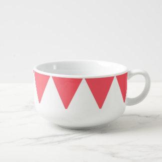 Peach And White Triangles Retro Pattern Soup Mug
