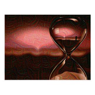 Peach Artistic Sunrise With Hourglass Postcard