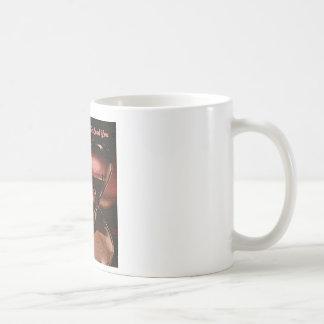 Peach Artsy Sunrise With Hourglass & Saying Coffee Mug