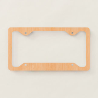 Peach Bamboo Wood Grain Look Licence Plate Frame