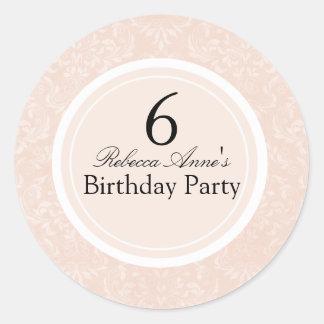 Peach & Black Damask Kids Birthday Party Sticker