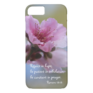 Peach Blossom Bible Verse about Hope, Romans 12:12 iPhone 7 Case
