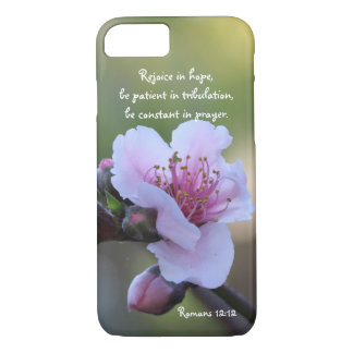 Peach Blossom; Bible Verse about Hope, Romans 12: iPhone 7 Case