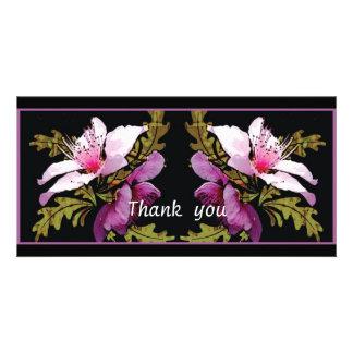 Peach blossom digital art thank you photocard photo card template