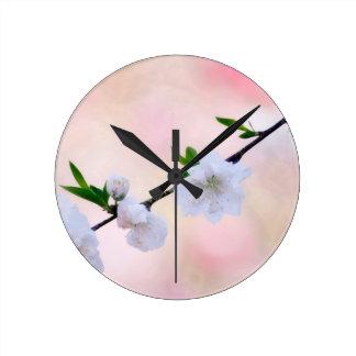 Peach Blossom Round Clock
